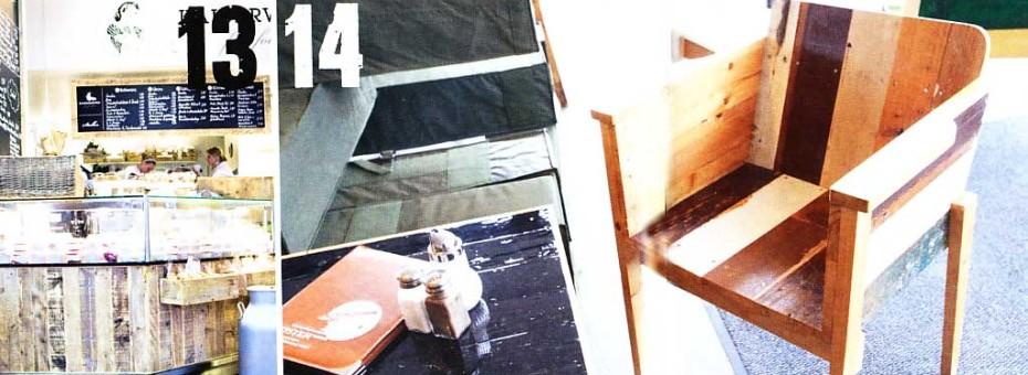 """13 Inneneinrichtung aus altem Bauholz von Piet Hein Eek, 14 Sitzskulptur """"Enormous"""" aus altem Holz"""